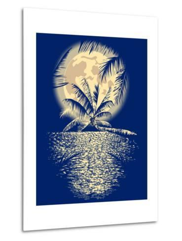 Reflected in the Ocean Full Moon on Vagator, Goa, India on a Dark Blue Background with Silhouettes-yulianas-Metal Print