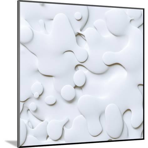 3D Abstract Wavy Background, White Paper Cut Shapes-wacomka-Mounted Art Print