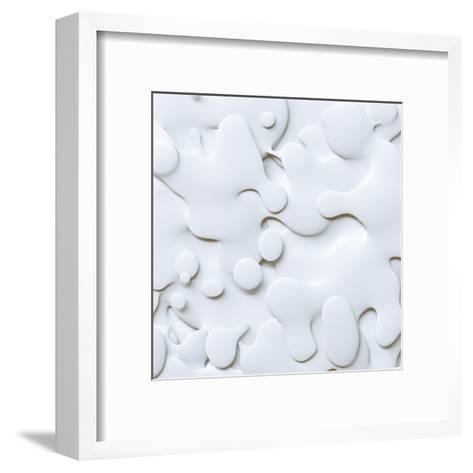 3D Abstract Wavy Background, White Paper Cut Shapes-wacomka-Framed Art Print