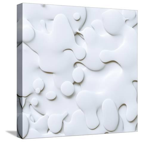 3D Abstract Wavy Background, White Paper Cut Shapes-wacomka-Stretched Canvas Print