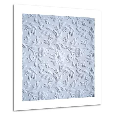 White Embossed Flowers Pattern, Textured Paper, 3D Floral Background-wacomka-Metal Print