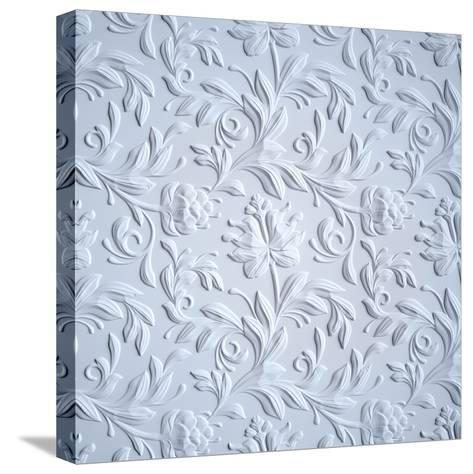 White Embossed Flowers Pattern, Textured Paper, 3D Floral Background-wacomka-Stretched Canvas Print