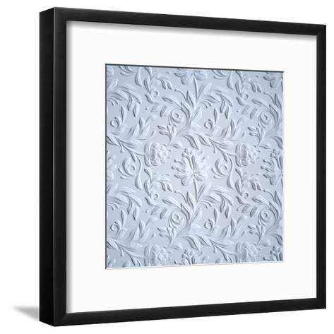 White Embossed Flowers Pattern, Textured Paper, 3D Floral Background-wacomka-Framed Art Print