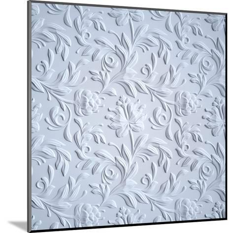 White Embossed Flowers Pattern, Textured Paper, 3D Floral Background-wacomka-Mounted Art Print