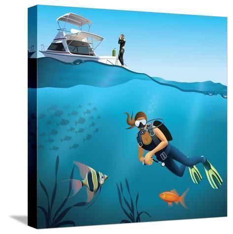 Underwater World and Diving Scene-Nikola Knezevic-Stretched Canvas Print