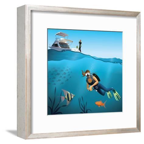 Underwater World and Diving Scene-Nikola Knezevic-Framed Art Print