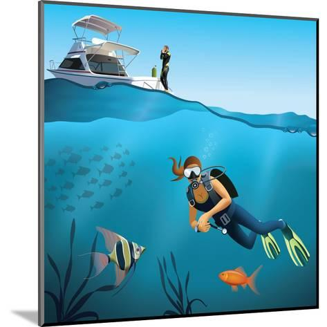 Underwater World and Diving Scene-Nikola Knezevic-Mounted Art Print