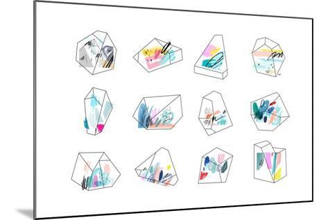 Set of Geometric Outline Shapes and Crystals-Lera Efremova-Mounted Art Print