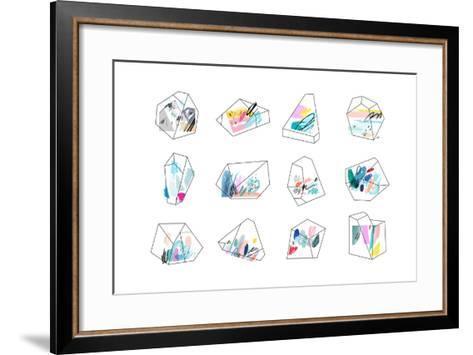 Set of Geometric Outline Shapes and Crystals-Lera Efremova-Framed Art Print