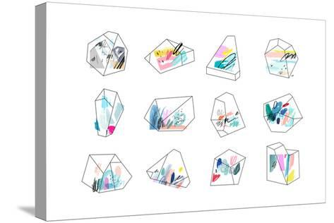 Set of Geometric Outline Shapes and Crystals-Lera Efremova-Stretched Canvas Print