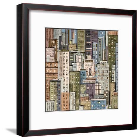 Cityscape. Hand Drawn Vector-dahabian-Framed Art Print