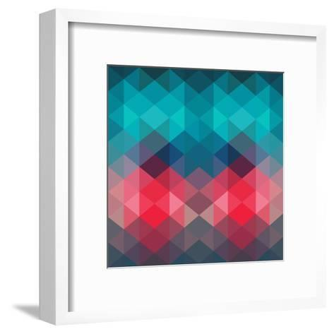 Spectrum Geometric Background Made of Triangles. Retro Hipster Color Spectrum Grunge Background. Sq-Markovka-Framed Art Print