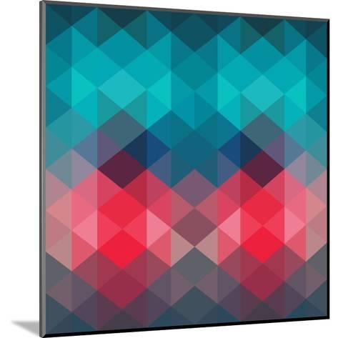 Spectrum Geometric Background Made of Triangles. Retro Hipster Color Spectrum Grunge Background. Sq-Markovka-Mounted Art Print