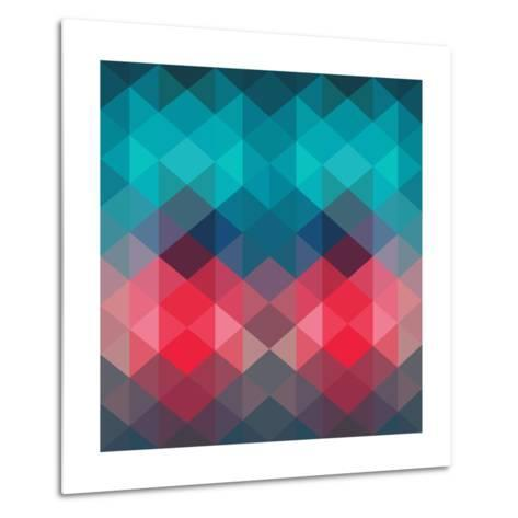 Spectrum Geometric Background Made of Triangles. Retro Hipster Color Spectrum Grunge Background. Sq-Markovka-Metal Print