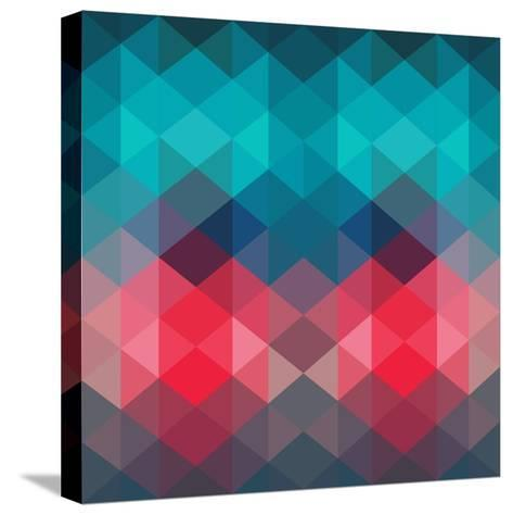 Spectrum Geometric Background Made of Triangles. Retro Hipster Color Spectrum Grunge Background. Sq-Markovka-Stretched Canvas Print