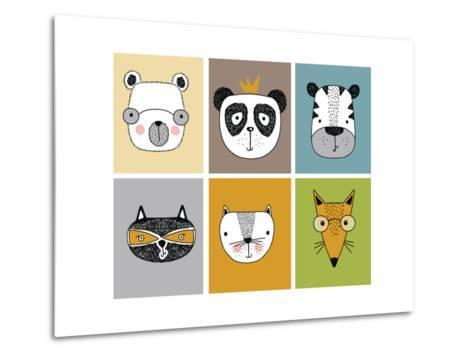 Cartoon Animal Set Vector / Children Illustration-Mehmet GUNEY-Metal Print