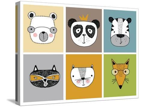 Cartoon Animal Set Vector / Children Illustration-Mehmet GUNEY-Stretched Canvas Print