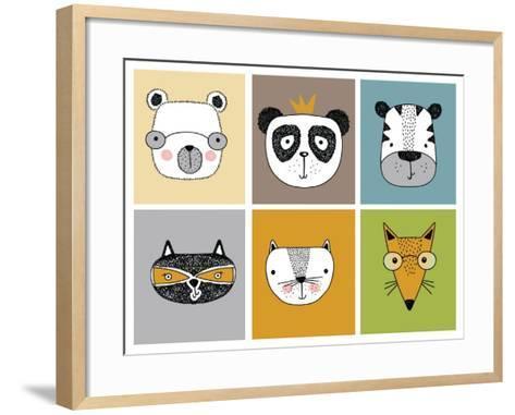 Cartoon Animal Set Vector / Children Illustration-Mehmet GUNEY-Framed Art Print