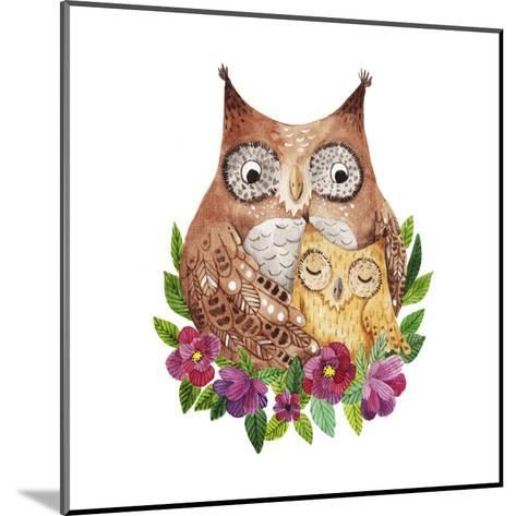 Cute Mother's Day Greeting Card with Owls. Watercolor Illustration-Maria Sem-Mounted Art Print