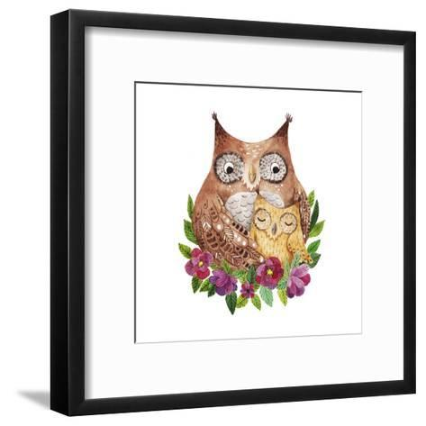 Cute Mother's Day Greeting Card with Owls. Watercolor Illustration-Maria Sem-Framed Art Print