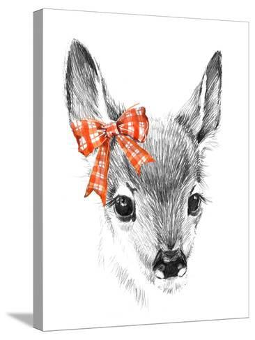 Cute Deer. Pencil Sketch of Fawn. Animal Illustration. T-Shirt Design.-Faenkova Elena-Stretched Canvas Print