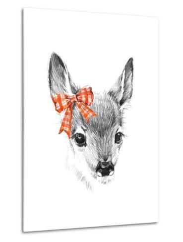 Cute Deer. Pencil Sketch of Fawn. Animal Illustration. T-Shirt Design.-Faenkova Elena-Metal Print