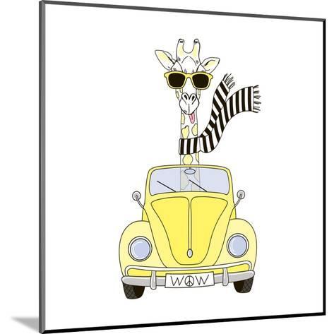 Giraffe in Sunglasses and Scarf Driving Yellow Retro Car-Olga_Angelloz-Mounted Art Print