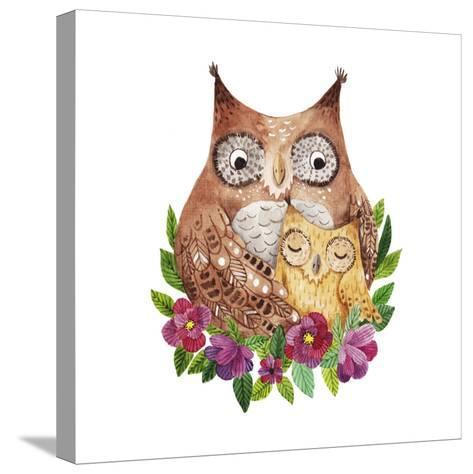 Cute Mother's Day Greeting Card with Owls. Watercolor Illustration-Maria Sem-Stretched Canvas Print