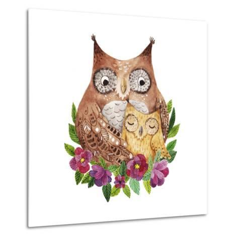 Cute Mother's Day Greeting Card with Owls. Watercolor Illustration-Maria Sem-Metal Print