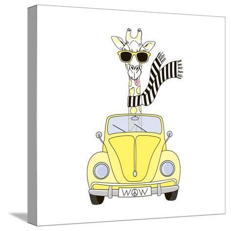 Giraffe in Sunglasses and Scarf Driving Yellow Retro Car-Olga_Angelloz-Stretched Canvas Print