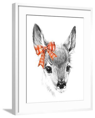 Cute Deer. Pencil Sketch of Fawn. Animal Illustration. T-Shirt Design.-Faenkova Elena-Framed Art Print