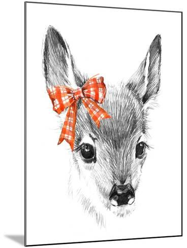Cute Deer. Pencil Sketch of Fawn. Animal Illustration. T-Shirt Design.-Faenkova Elena-Mounted Art Print
