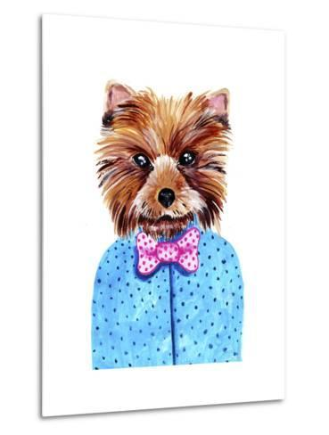 Cute Watercolor Yorkshire Terrier Portrait with Bow Tie. Formal Dog Hand Dawn Illustration.-Maria Sem-Metal Print