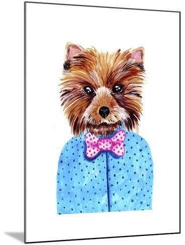Cute Watercolor Yorkshire Terrier Portrait with Bow Tie. Formal Dog Hand Dawn Illustration.-Maria Sem-Mounted Art Print