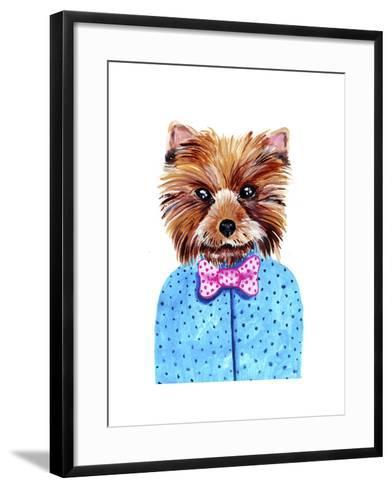 Cute Watercolor Yorkshire Terrier Portrait with Bow Tie. Formal Dog Hand Dawn Illustration.-Maria Sem-Framed Art Print
