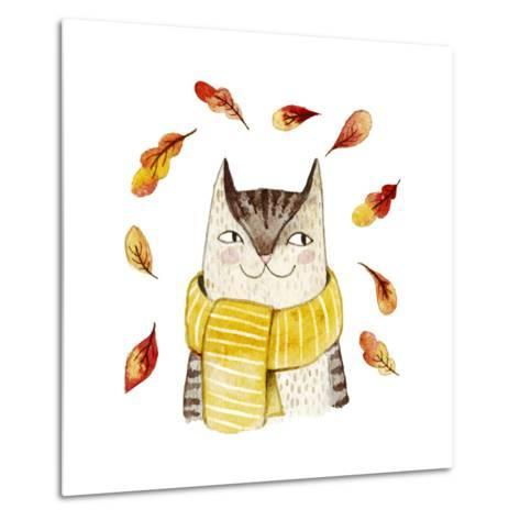 Cute Cat in Scarf with Autumn Leaves. Watercolor Illustration with Domestic Animal. Lovely Pet. Han-Maria Sem-Metal Print