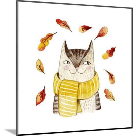 Cute Cat in Scarf with Autumn Leaves. Watercolor Illustration with Domestic Animal. Lovely Pet. Han-Maria Sem-Mounted Art Print