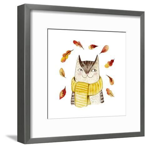Cute Cat in Scarf with Autumn Leaves. Watercolor Illustration with Domestic Animal. Lovely Pet. Han-Maria Sem-Framed Art Print
