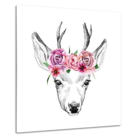 Deer Pencil Drawing with Watercolor Flowers-Maria Sem-Metal Print