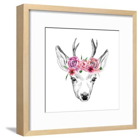 Deer Pencil Drawing with Watercolor Flowers-Maria Sem-Framed Art Print