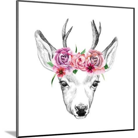 Deer Pencil Drawing with Watercolor Flowers-Maria Sem-Mounted Art Print