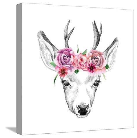 Deer Pencil Drawing with Watercolor Flowers-Maria Sem-Stretched Canvas Print