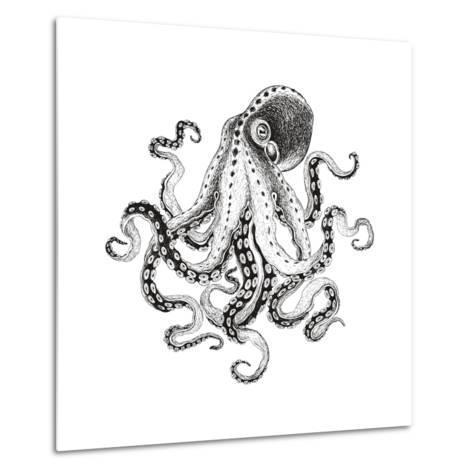 Hand-Drawn Illustration Octopus, Vector Isolate on White Background.-Nikiparonak-Metal Print