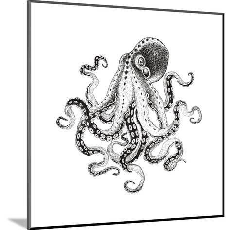 Hand-Drawn Illustration Octopus, Vector Isolate on White Background.-Nikiparonak-Mounted Art Print