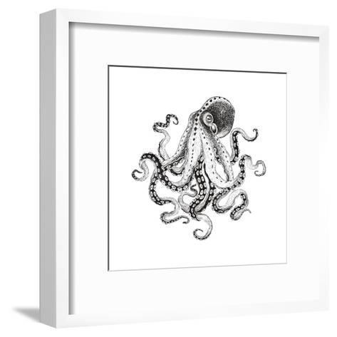 Hand-Drawn Illustration Octopus, Vector Isolate on White Background.-Nikiparonak-Framed Art Print