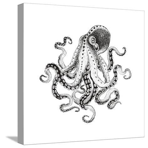 Hand-Drawn Illustration Octopus, Vector Isolate on White Background.-Nikiparonak-Stretched Canvas Print
