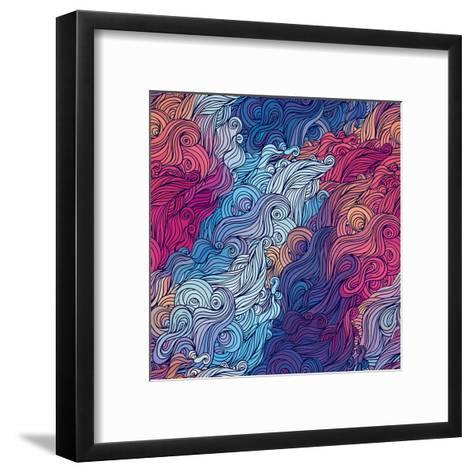 Vector Color Abstract Hand-Drawn Hair Pattern with Waves and Clouds. Asian Style.-Gorbash Varvara-Framed Art Print