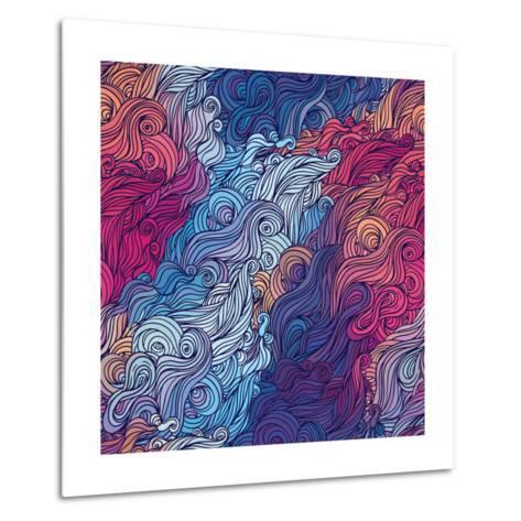 Vector Color Abstract Hand-Drawn Hair Pattern with Waves and Clouds. Asian Style.-Gorbash Varvara-Metal Print