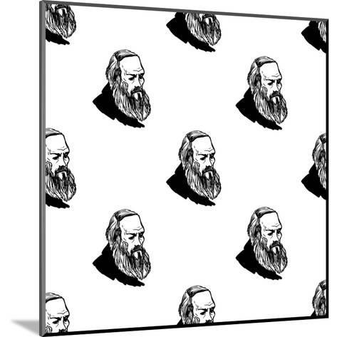 Background with Hand Drawing Inky Portraits of the Great Russian Writers: Dostoevsky. Vector Seamle- Sopelkin-Mounted Art Print