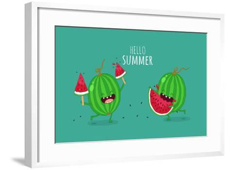 Funny Watermelon Eating a Piece of Watermelon. Hello Summer. Use for Card, Poster, Banner, Web Desi- Serbinka-Framed Art Print